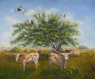 Longhorn Pasture Painting - The Flatlanders by Cynthia Barrow