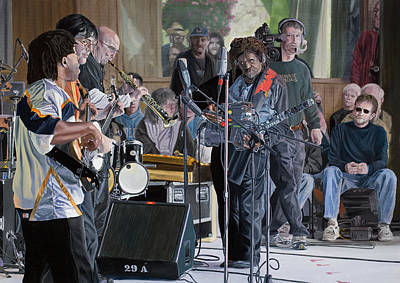 Victor Wooten Painting - The Flecktones by Kevin Aita