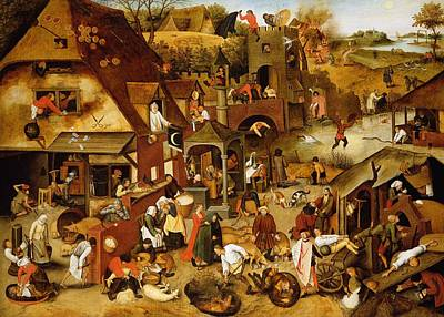 Crowd Scene Photograph - The Flemish Proverbs Oil On Canvas by Pieter the Younger Brueghel