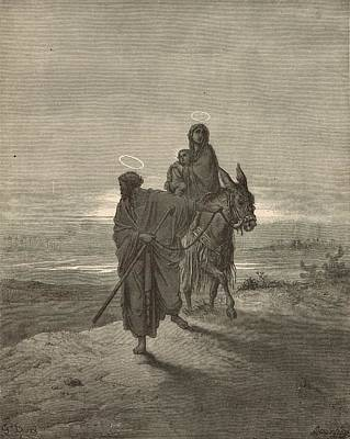 Scriptural Drawing - The Flight Into Egypt by Antique Engravings