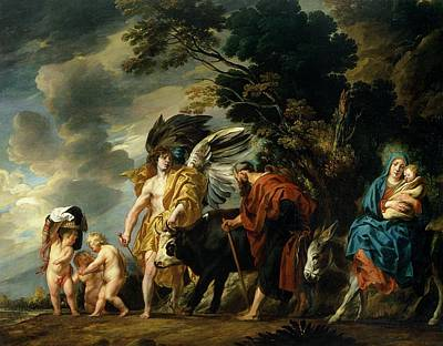 Baby Donkey Painting - The Flight Into Egypt by Jacob Jordaens