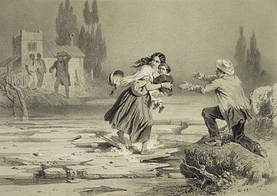Escape Drawing - The Flight Of Eliza, Plate 3 From Uncle by Adolphe Jean-Baptiste Bayot