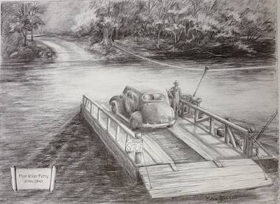 Drawing - The Flint River Ferry In Georgia by Edna Garrett