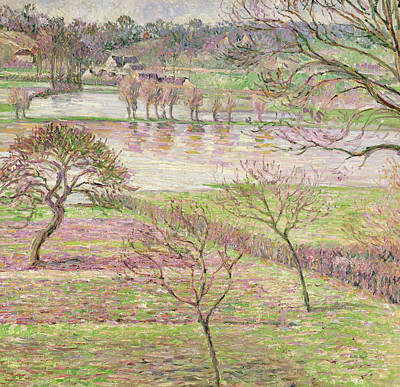 Impressionist Painting - The Flood At Eragny by Camille Pissarro