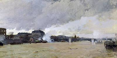 Floods Photograph - The Flooding Of The Seine, C.1903 Oil On Canvas by Luigi Loir