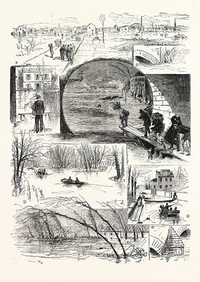 Flooding Drawing - The Flooding Of The Seine, Engraving 1876 by French School