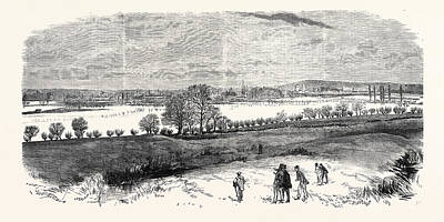 The Floods At Oxford From The North Hinkley Hill Uk 1869 Art Print