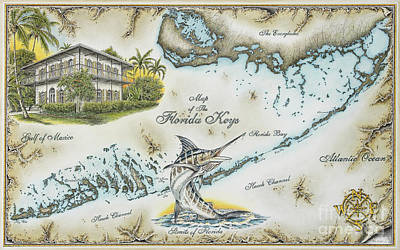 Blue Marlin Drawing - The Florida Keys by Mike Williams