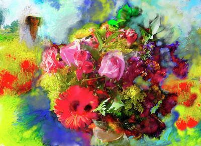 Art Print featuring the painting The Florist by Ted Azriel