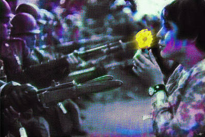 The Flower And The Bayonet Dot Pattern Yellow Original by Tony Rubino