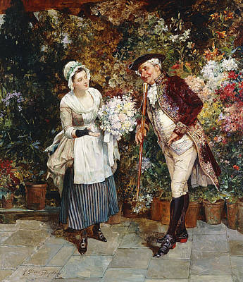 Street Store Painting - The Flower Girl by Henry Gillar Glindoni
