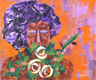 Afro Mixed Media - The Flower Girl by Paula Drysdale Frazell