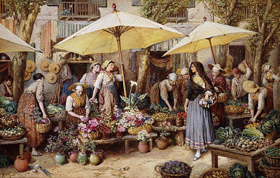 Fruits And Vegetables Painting - The Flower Market by Myles Birket Foster