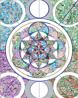 Archetype Drawing - The Flower Of Life And The 4 Elements by Phable Omsri