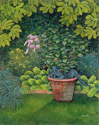 Pussycat Painting - The Flower Pot Cat by Ditz