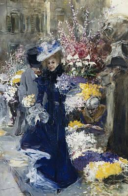 The Flower Seller Art Print by Friedrich Stahl