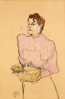 Pastel Drawing Drawing - The Flower Seller by Henri de Toulouse-Lautrec