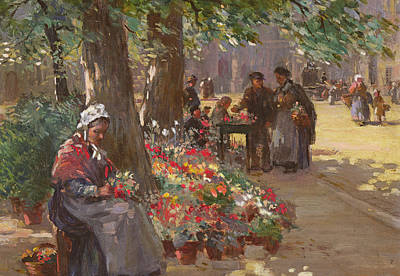 Shawl Painting - The Flower Seller by William Kay Blacklock