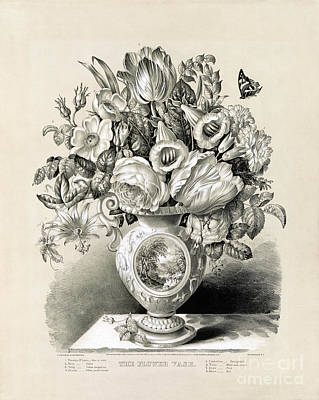 Antique Roses Vase Wall Art - Drawing - The Flower Vase - 1859 by Pablo Romero