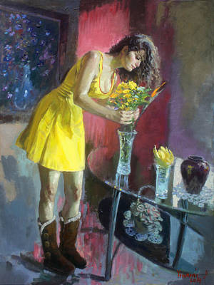 Table Painting - The Flowers by Ylli Haruni