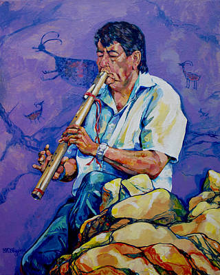 Plateau Painting - The Flute Player by Derrick Higgins