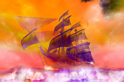 The Flying Dutchman Ghost Ship Print by Carol and Mike Werner