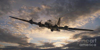 B-17 Wall Art - Digital Art - The Flying Fortress by J Biggadike