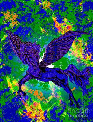 Painting - The Flying Stallion Fantasy by Saundra Myles