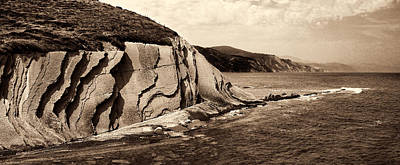 Photograph - The Flysch From The Kt Boundary In Zumaia No1 Sepia by Weston Westmoreland