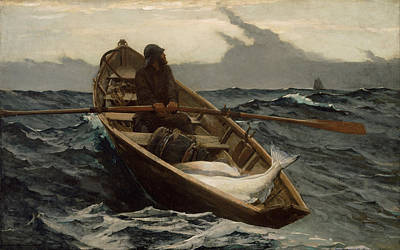 The Fog Warning .halibut Fishing Art Print by Winslow Homer