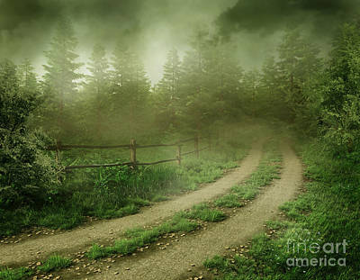 The Foggy Road Art Print by Boon Mee