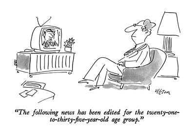 Old Tv Drawing - The Following News Has Been Edited by Dean Vietor