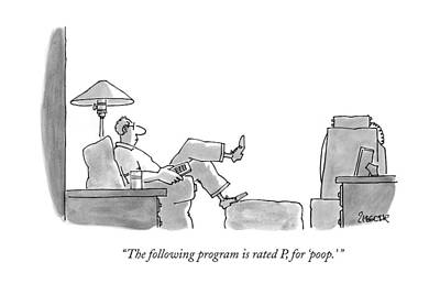 Armchair Drawing - The Following Program Is Rated P by Jack Ziegler