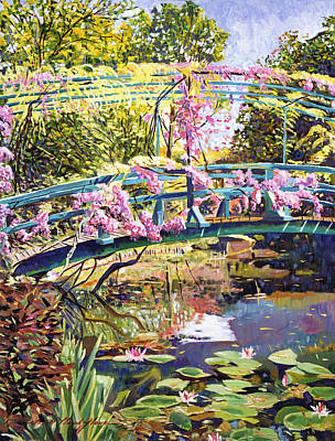 Lilies Royalty-Free and Rights-Managed Images - The Footbridge At Giverny by David Lloyd Glover
