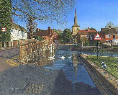 Villa Painting - The Ford At Eynsford Kent by Richard Harpum