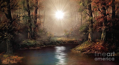 Gods Sunshine Art Painting - Sunrise Forest  by Michael Rucker
