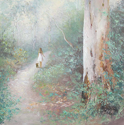 Girl In Landscape Painting - The Forest Path by Jan Matson