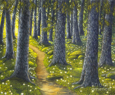Peaceful Places Painting - The Forest Path by Veikko Suikkanen