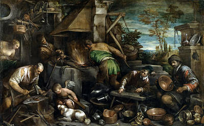 The Forge Of Vulcan Painting - The Forge Of Vulcan by Jacopo Bassano