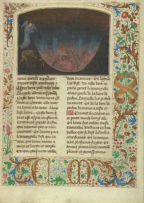 Vulcan Painting - The Forge Of Vulcan Simon Marmion, Flemish, Active 1450 - by Litz Collection