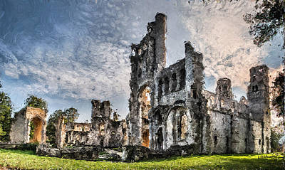 Medieval Temple Photograph - The Forgotten Abbey - Painitng by Weston Westmoreland