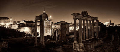 Photograph - The Forum Temples At Night Sepia by Weston Westmoreland