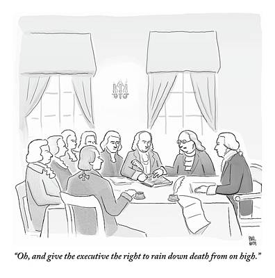 Benjamin Drawing - The Founding Fathers Drafting The Constitution by Paul Noth