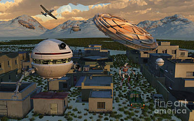Surrealism Royalty-Free and Rights-Managed Images - The Founding Of Area 51, The Top Secret by Mark Stevenson