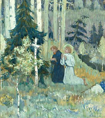 The Founding Of Trinity Sergius Monastery Art Print by Mikhail Vasilievich Nesterov
