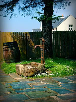 Flagstone Photograph - The Fountain And The Barrel by Alessandro Della Pietra