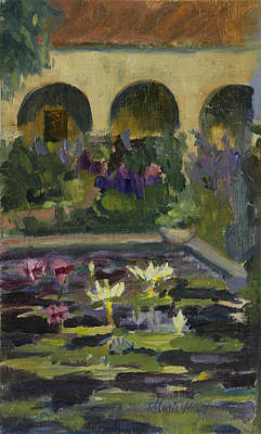 Mission California Painting -   Fountain At Mission San Juan Capistrano by Maria Hunt