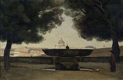 The Fountain Of The French Academy In Rome, 1826-27 Oil On Canvas Print by Jean Baptiste Camille Corot