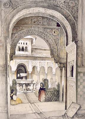 Lion Drawing - The Fountain Of The Lions by John Frederick Lewis