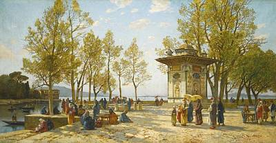 Constantinople Painting - The Fountain Of The Sweet Waters Of Asia On The Bosphorus by Celestial Images